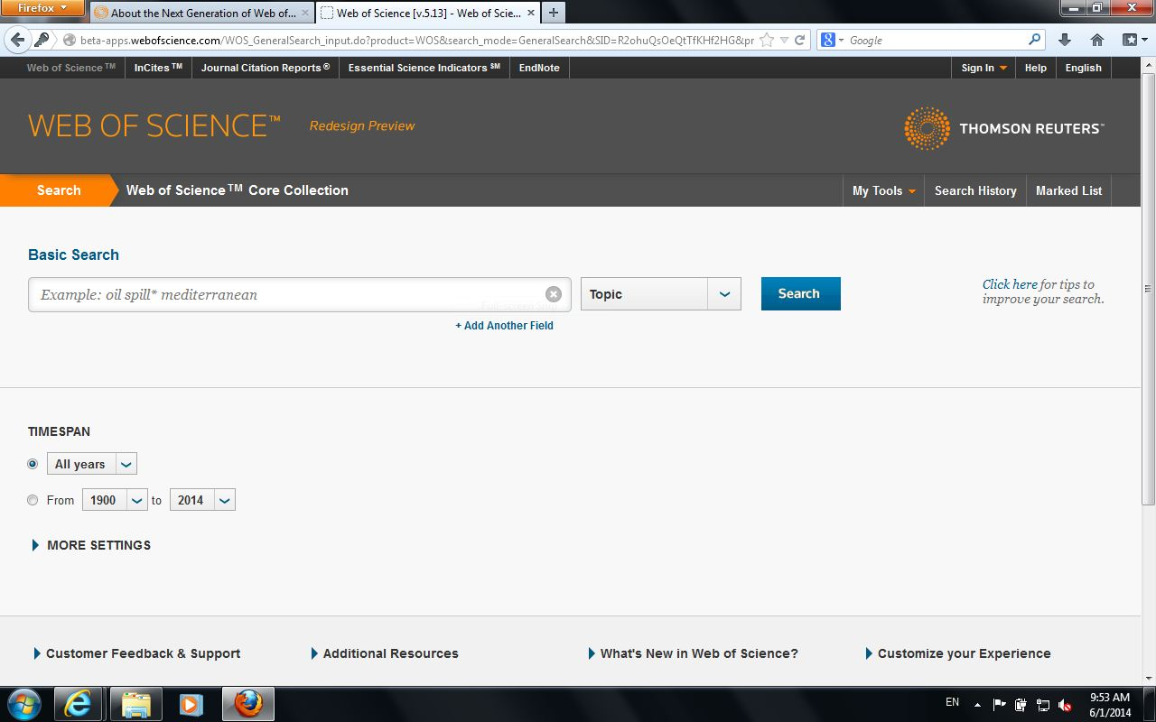 Changes to ThomsonReuters' Web Of Science