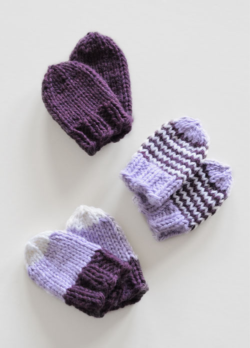 Mittens in 3 colours